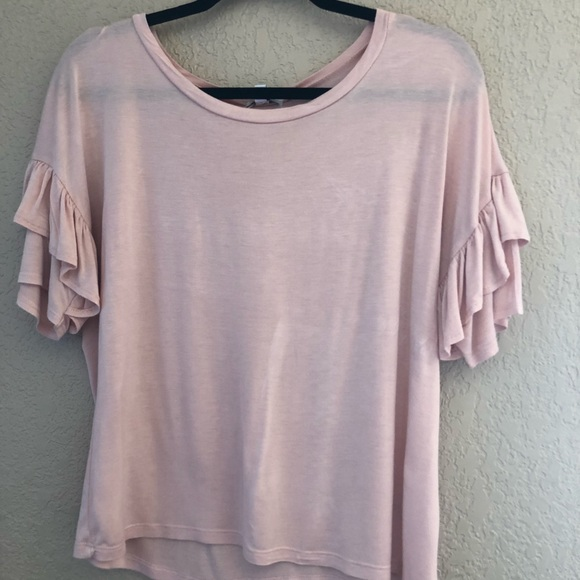 1bfe83fae9a Ruffle sleeve baby pink top